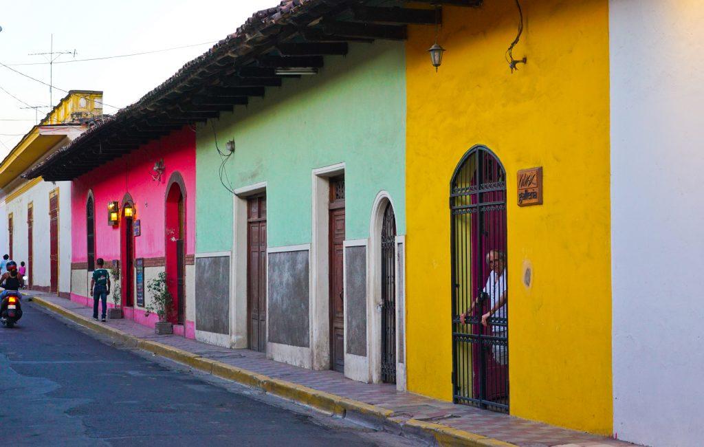 Painted houses in Granada, Nicaragua.