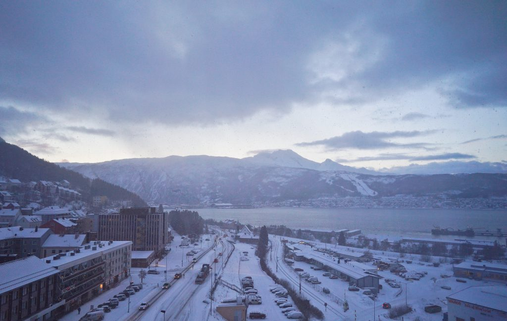 The view from our hotel in Narvik after the car broke down.