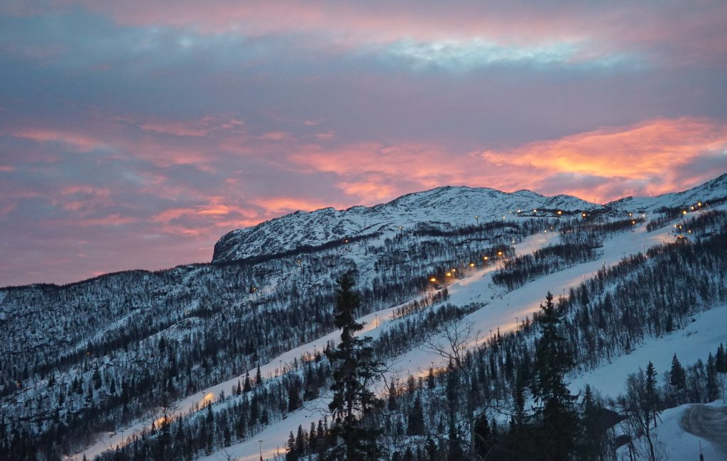 Beautiful sunrise over the slopes of Hemsedal.